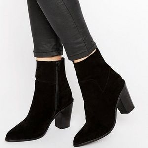 Asos Eber Suede ankle boots, black, size 5.5